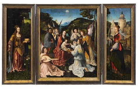 Meister von Hoogstraeten - Heilige Familie mit Engeln und die Heiligen Katharina und Barbara