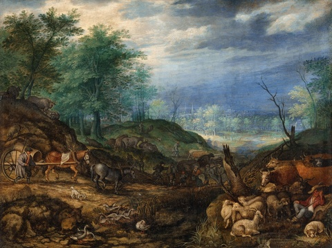 Roelant Savery - Landschaft mit Hirten und Pferdewagen