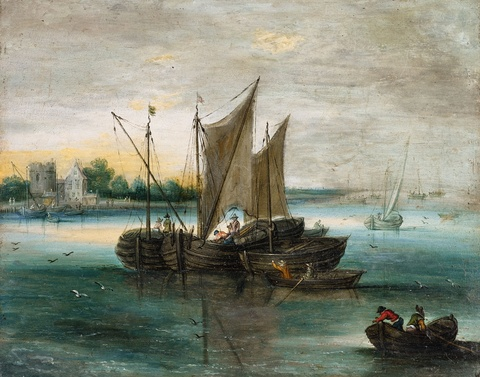 Jan Brueghel d. J. - Kleine Seelandschaft mit Segelbooten