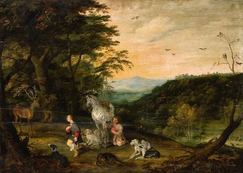 Jan Brueghel d. J., Werkstatt - Landschaft mit dem Heiligen Hubertus