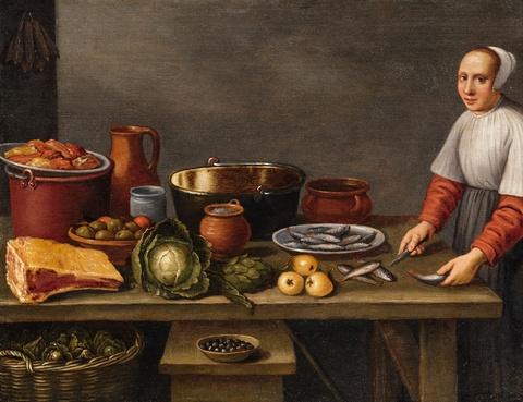 Floris van Schooten - A Small Kitchen Scene
