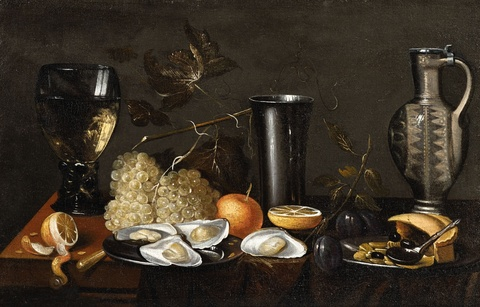 Netherlandish School 17th century - Still Life with a Rummer, Pitcher, Grapes, Lemon and Oysters