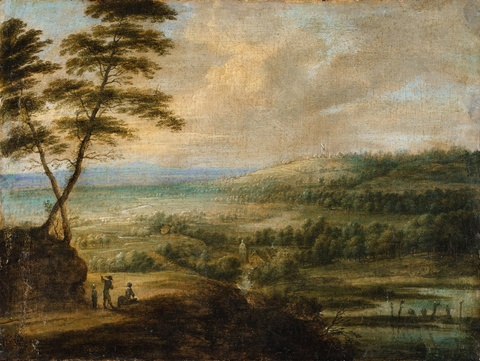 Lucas van Uden, attributed to - A Panoramic Landscape with a Windmill