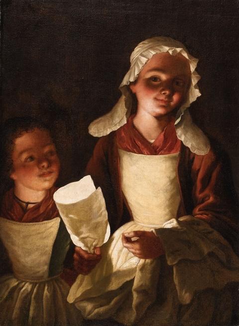 Netherlandish School 18th century - Two Girls with Paper Lanterns