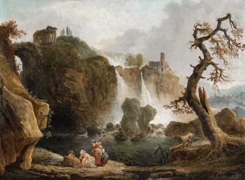 Claude-Joseph Vernet, Umkreis - Landschaft mit Wasserfall (Tivoli?)