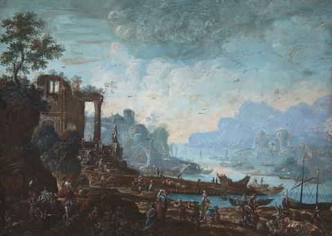 Johann Alexander Thiele - Phantastische Flusslandschaft mit Händlern und Kaufleuten