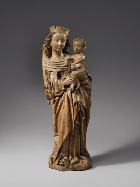 Swabia ca. 1470/1480 - A Swabian carved wooden figure of the Virgin with Child, circa 1470/1480.