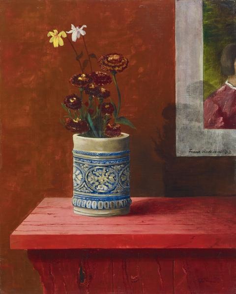 Franz Radziwill - Stilleben mit Blumen in blaugrau-gemustertem Steinkrug