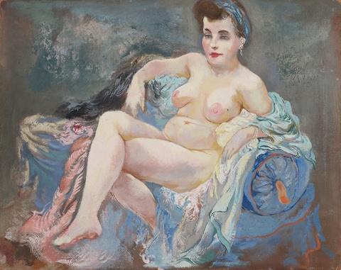 George Grosz - Sitzender weiblicher Akt (Eva)