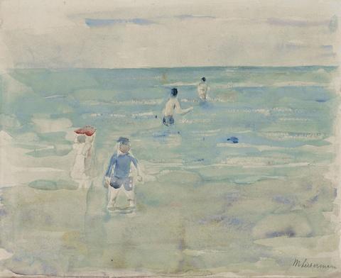 Max Liebermann - Badende Kinder im Meer