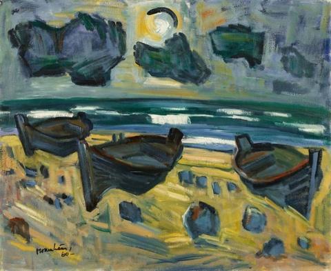 Ernst Mollenhauer - Drei Boote am Strand (Kurische Nehrung)
