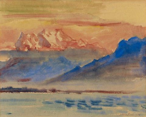 Hermann Max Pechstein - Gebirgslandschaft am Genfer See