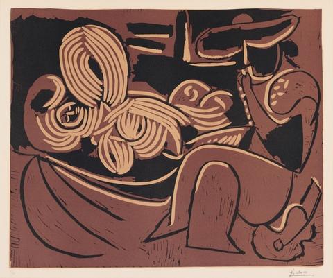 Pablo Picasso - Femme couchée et Homme à la Guitare