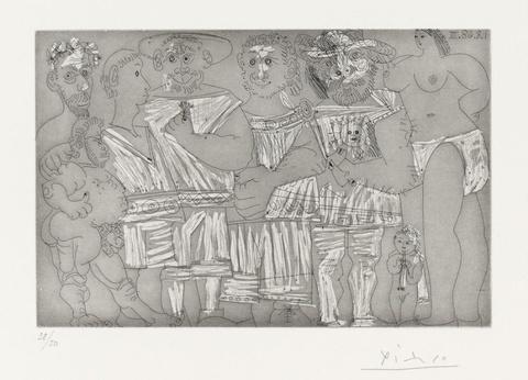 Pablo Picasso - Baigneuse et putto flûtiste, avec des hommes en tenue de plage