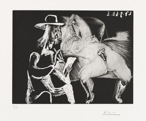 Pablo Picasso - Homme au chapeau dessinant à côté d'une femme ouverte