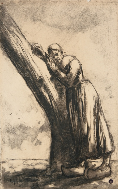 Lesser Ury - Bäuerin an einem Baumstamm lehnend