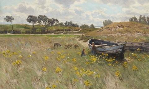 Paul Müller-Kaempff - Dune Landscape with Children and Sheep