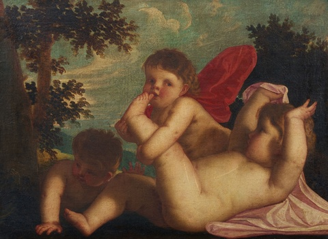 Alessandro Varotari, called Il Padovanino, follower of - Allegorical Scene of Putti at Play with a Snake