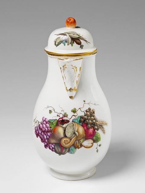 A Höchst porcelain coffee pot with a fruit still life -