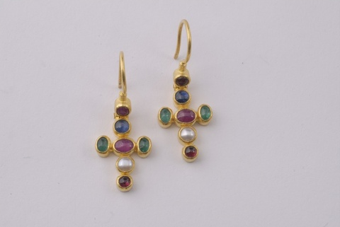 A pair of 24k gold and coloured stone earrings. -