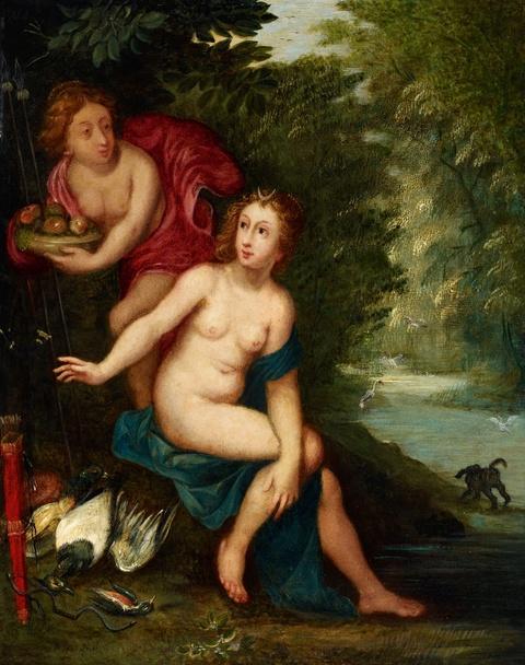 Jan Brueghel d. J. Hendrick van Balen, Werkstatt - Diana und ihre Nymphen nach der Jagd