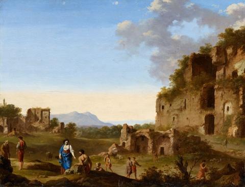 Cornelis van Poelenburgh - Römische Landschaft mit Ruinen und Reisenden