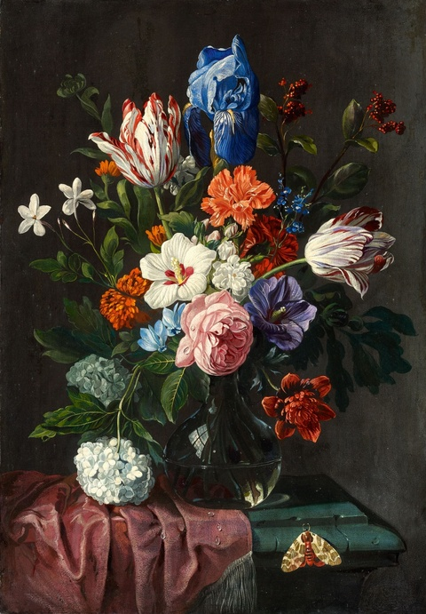 Netherlandish School 17th century - Floral Still Life with Tulips, Iris, Roses, Hydrangeas and a Butterfly