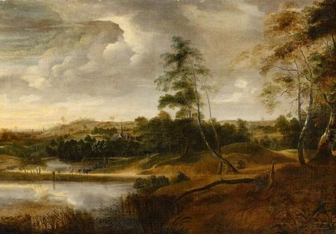 Lucas van Uden - A Landscape with a pond