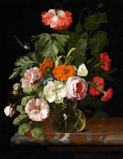 Isaak Denies - Blumenstilleben mit Schnecke und Libelle