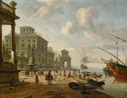 Abraham Storck - Southern Harbour Scene with Oriental Figures
