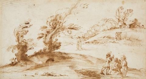 Bologneser Meister des 17. Jahrhunderts - Landschaft mit Bäumen, Gehöft und Figurenstaffage