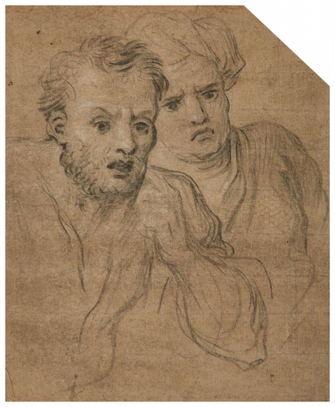 French School 17th century - Studies of Two Male Heads
