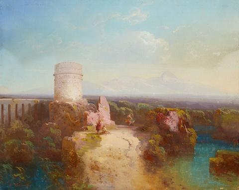 Peter Conrad Schreiber - Landschaft in der römischen Campagna mit Aquädukt und Ruine