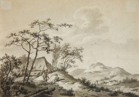 Barend Cornelis Koekkoek - Bergige Landschaft mit drei Wanderern
