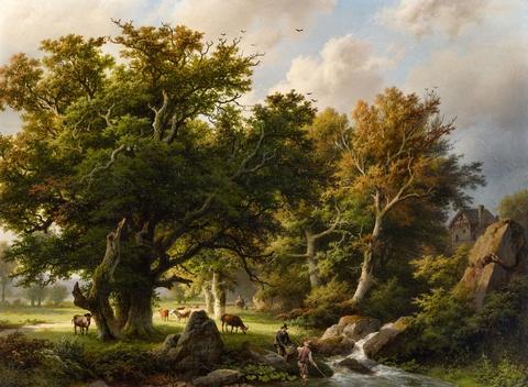 Barend Cornelis Koekkoek - Landschaft mit Bäumen und Kühen an einem Bach