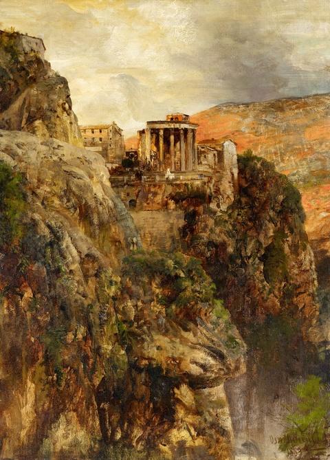 Oswald Achenbach - The Temple of Vesta in Tivoli