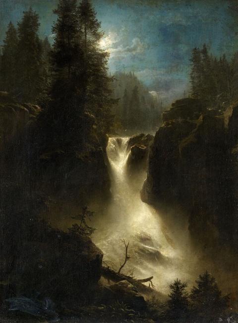 Oswald Achenbach - Moonlit Alpine Landscape