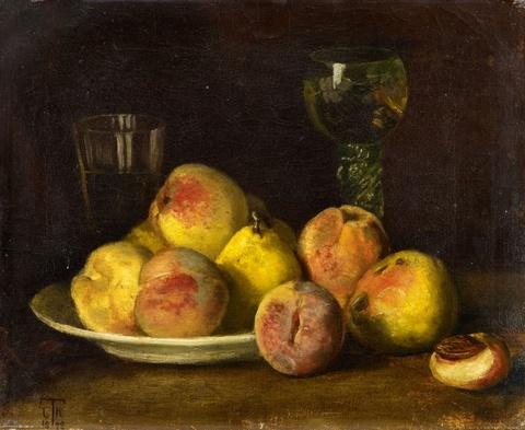 Cella Thoma - Stillleben mit Früchten und zwei Gläsern