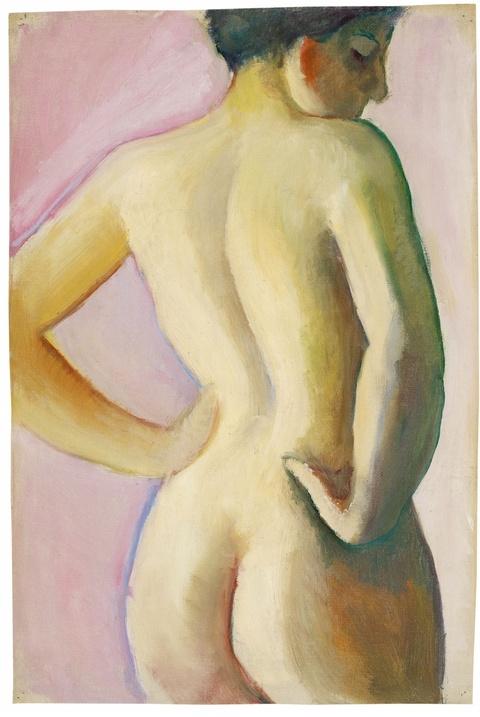 August Macke - Weiblicher Akt von rückwärts auf rosa Grund