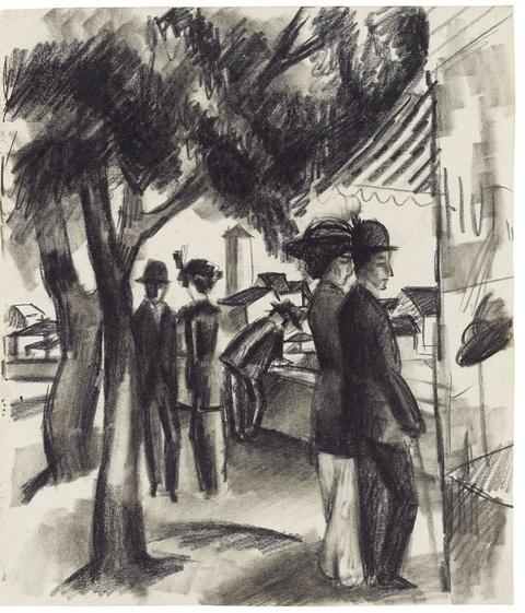 August Macke - Spaziergänger unter Bäumen (Leute vor dem Schaufenster)