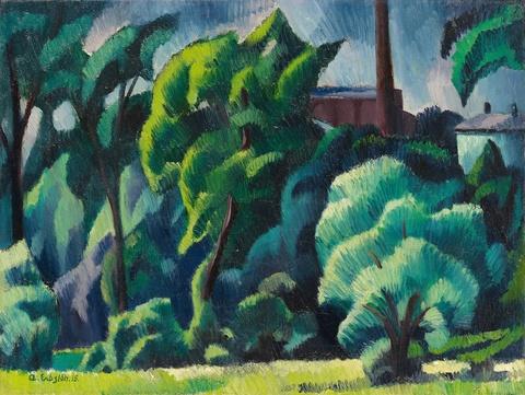 Adolf Erbslöh - Landschaft mit Fabrik