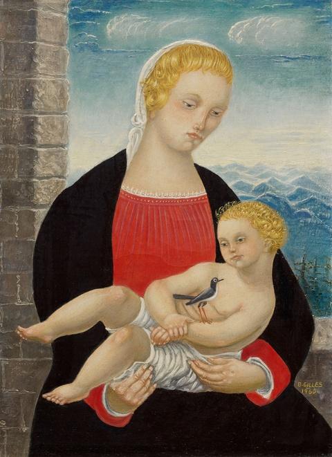 Barthel Gilles - Madonna mit Kind und Vogel vor Alpenlandschaft