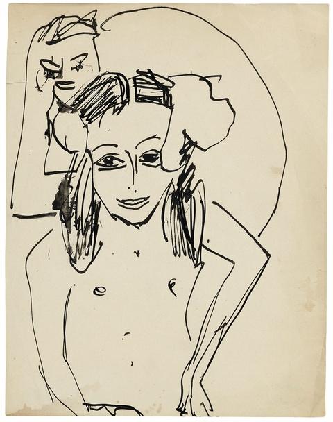 Ernst Ludwig Kirchner - Fränzi vor Skulptur