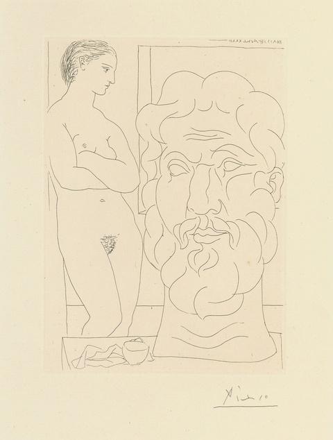 Pablo Picasso - Marie-Thérèse regardant un autoportrait sculpté du sculpteur