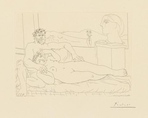 Pablo Picasso - Vieux sculpteur et jeune modèle avec le portrait sculpté du modèle