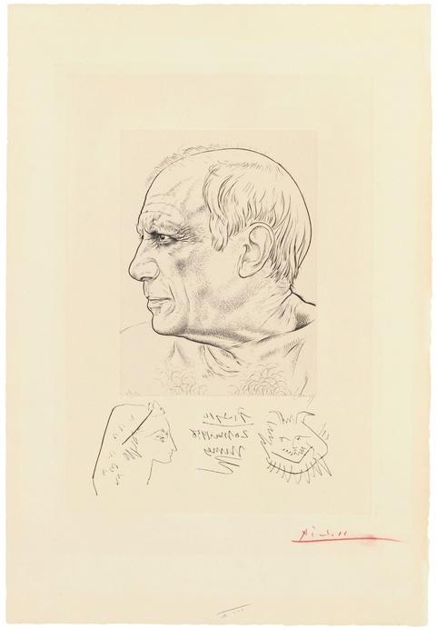 Pablo Picasso - Remarque pour le portrait de Picasso par Lemagny