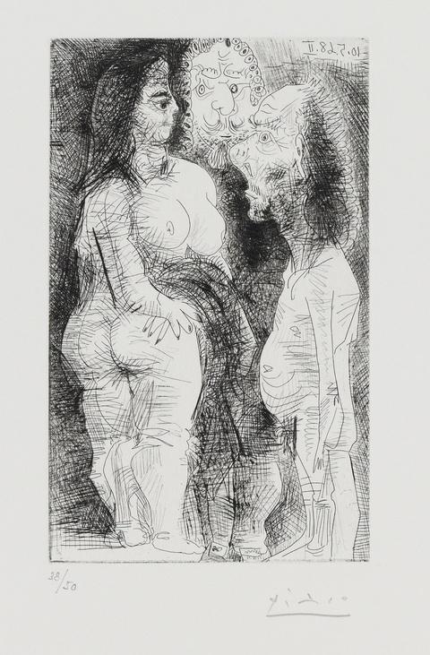 Pablo Picasso - Grosse courtisane, avec un viellard et un spectateur