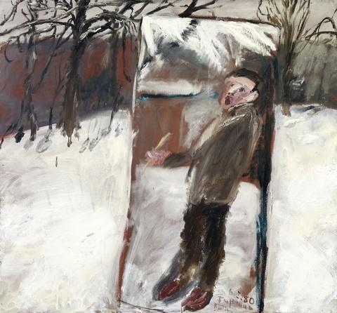 Klaus Fußmann - Untitled (Selbst im Schnee-Spiegel)