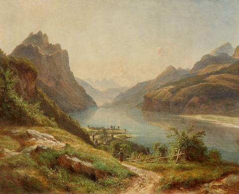 Robert Kummer - View of a Mountain Lake (possibly Lago Maggiore)