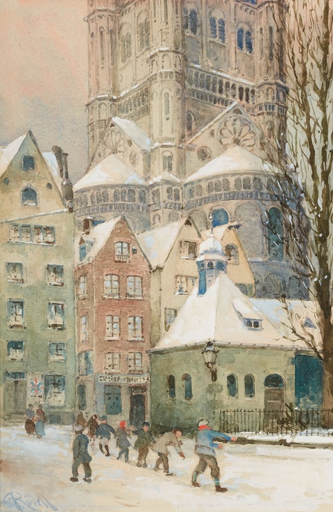Carl Rüdell - View of the Old City of Cologne with Great St. Martin and Children at Play